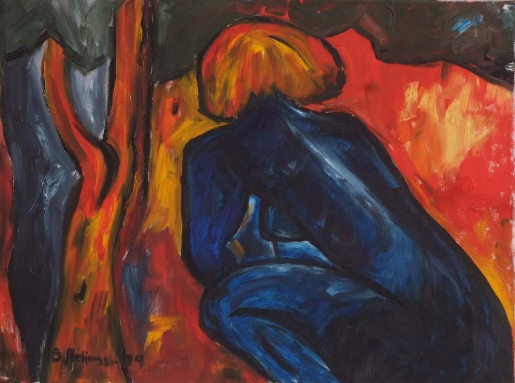 Blauer Akt, 100x80, Öl auf Leinwand