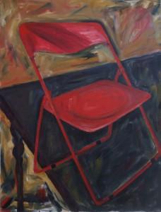 roter Stuhl, 60x80, Öl auf Leinwand